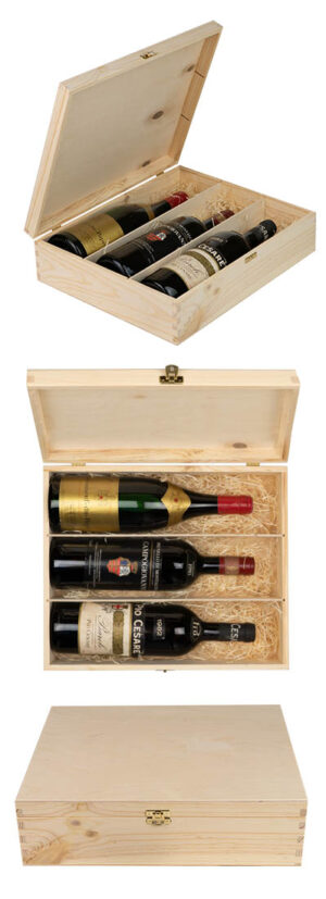 3-Bottle Wooden Gift Box