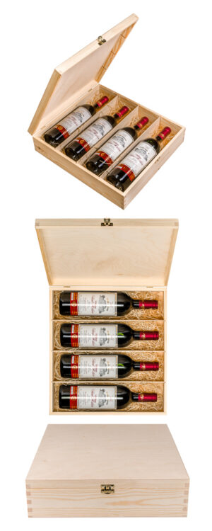 Gift for the 80th anniversary – gift set of 4 bottles of Médoc Château Saint-Hilaire 2001, 4x20
