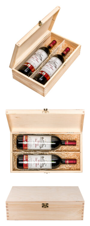 Gift for the 40th anniversary – gift set of 2 bottles of Médoc Château Saint-Hilaire 2001, 2x20