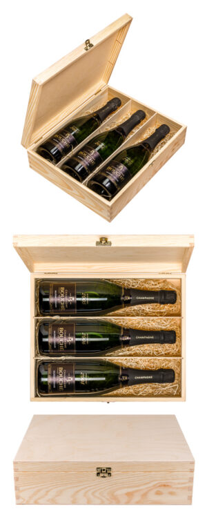Gift set of 3 vintage bottles of Champagne Bouché from years 2005, 2006 and 2008