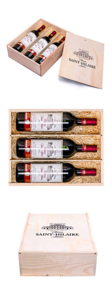 Gift for the 60th anniversary – gift set of 3 bottles of Médoc Château Saint-Hilaire 2001, 3x20