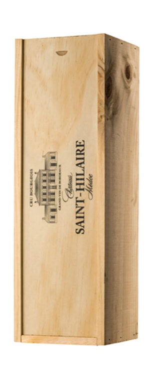 Wooden gift box for a bottle of wine with the winery's logo